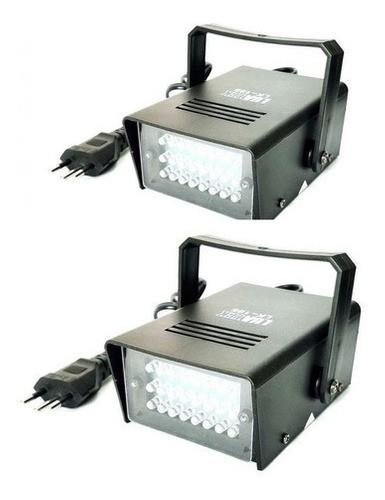 Kit 2 Strobo Projetor Jogo Luz Branca Frio 24 Led Iluminação