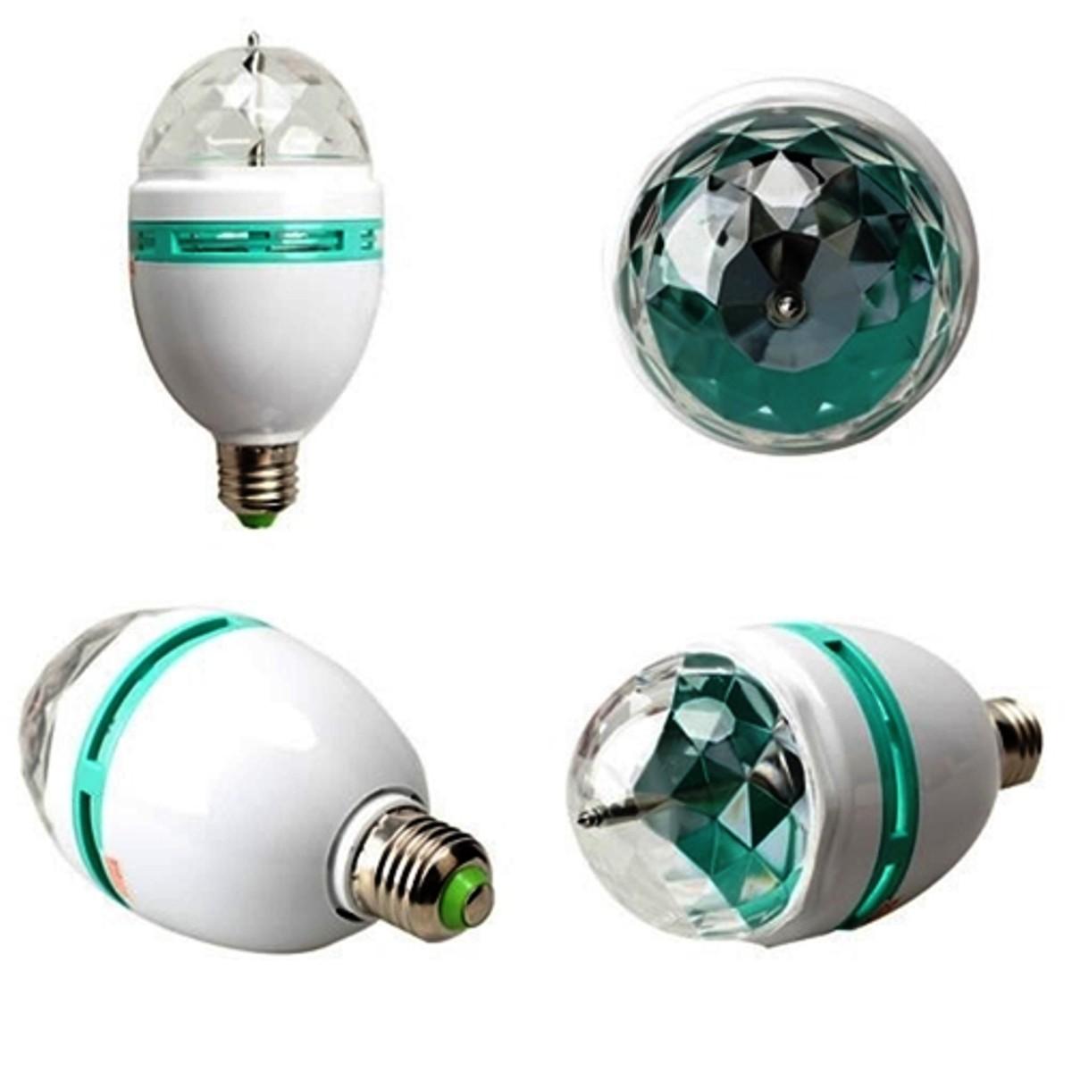 Kit 3 Luminária Lampada Dj Colorido Giratória Bola Maluca