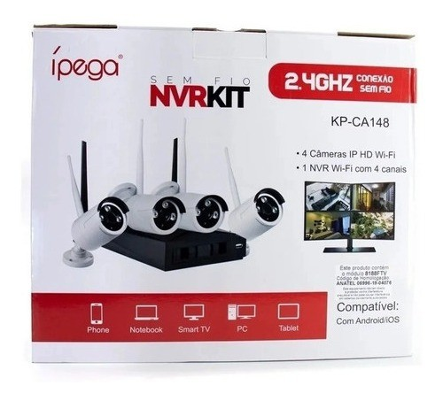 Kit 4 Câmeras Wifi Segurança Visão Noturna 720p Nvr Ípega