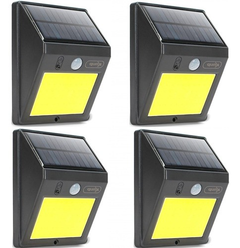 Kit 4 Luminária Solar 12w Ip64 Refletor Led Sensor Movimento
