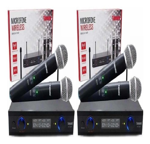 Kit 4 Microfones Sem Fios Tomate Mt-2207 Alcance Máximo 60m