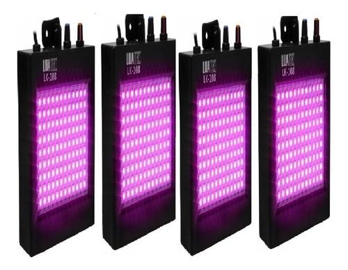 Kit 4 Mini Strobo Lk 108 Led Iluminação Luz Colorida Dj Bar