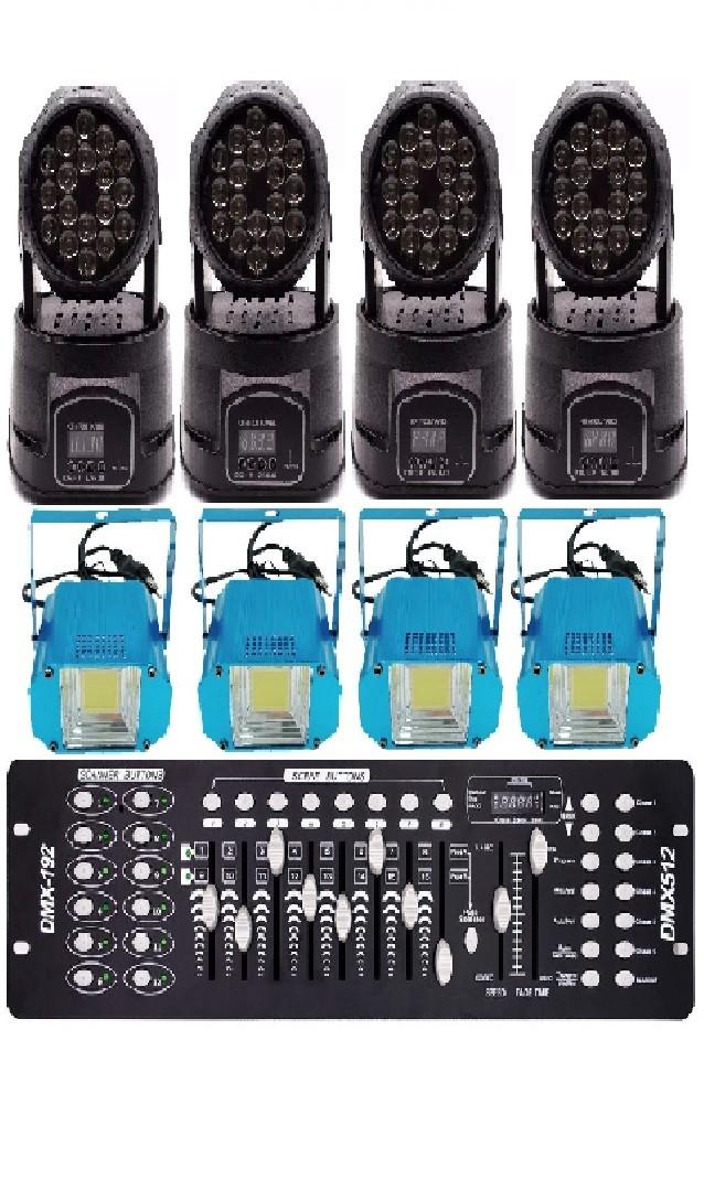 Kit 4 Moving 18 Led Rgb, mesa Iluminação Dmx512, Estrobo