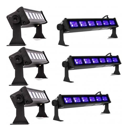 Kit 6 Ribalta Luz Negra Ultravioleta 6 Leds Uv Canhão Neon