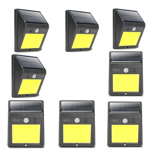 Kit 8 Luminária 12w Refletor Solar 60 Led Sensor De Presença