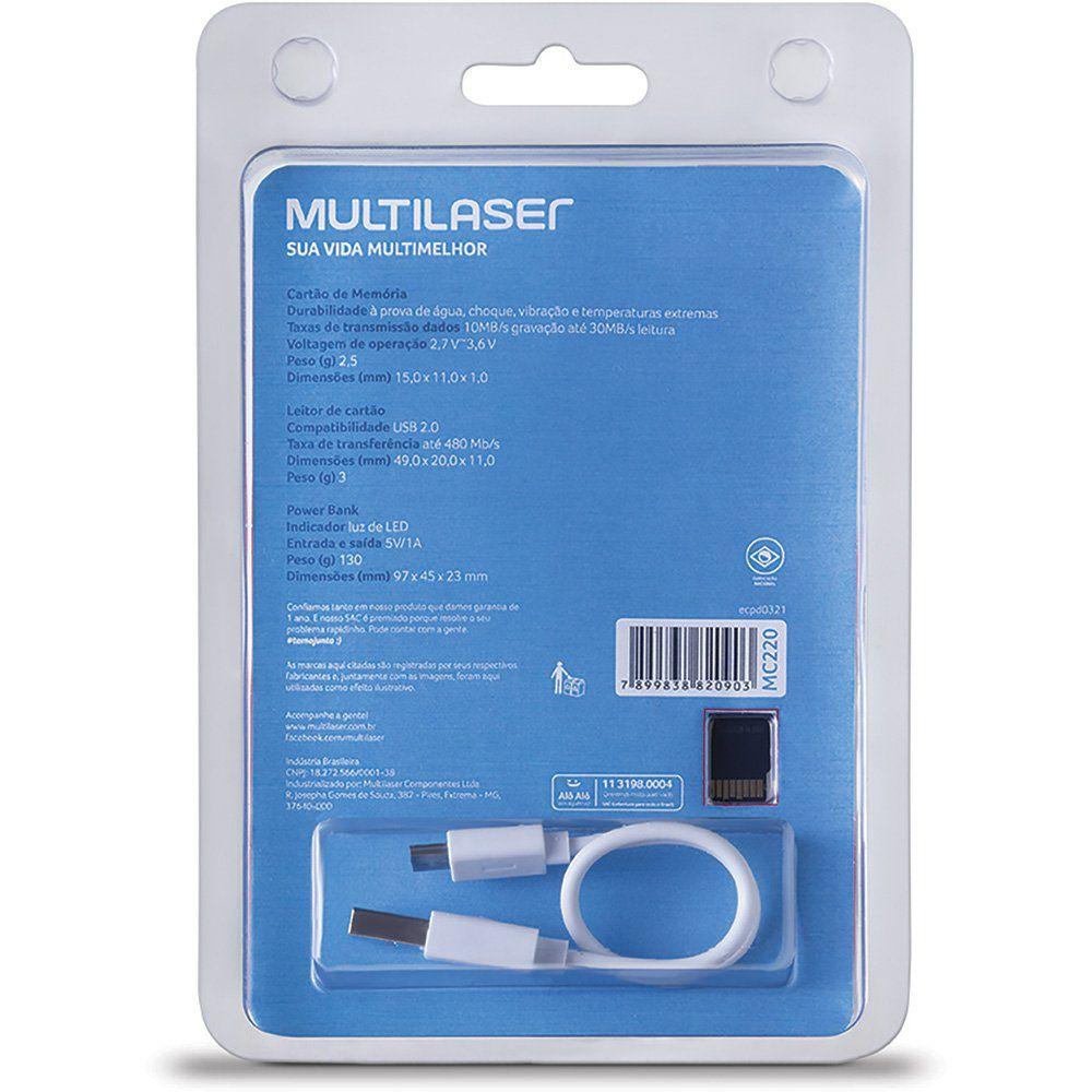 Kit Carregador Celular Mp3 + Cartão Memória Microsd 16g Cl10
