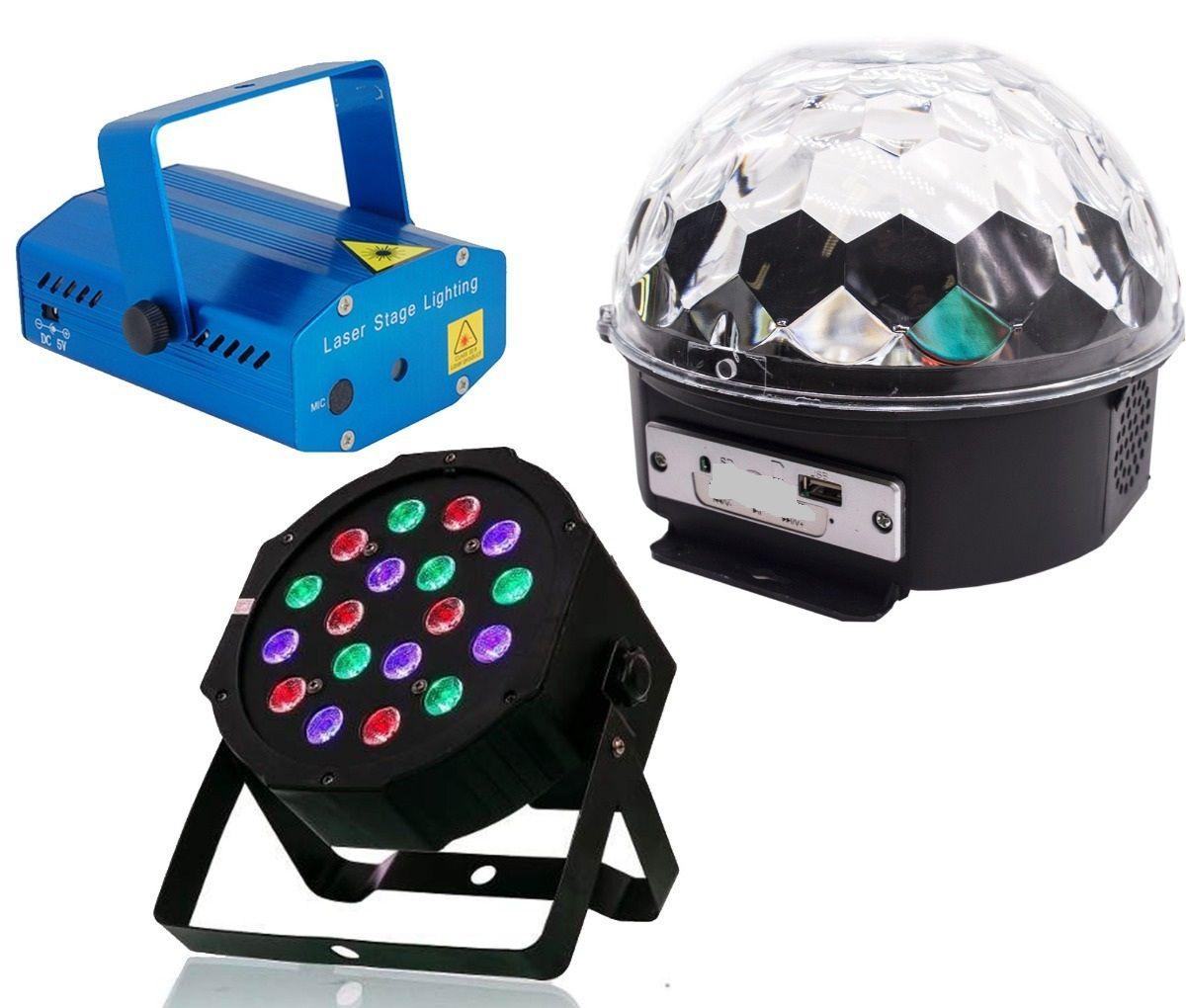 Kit Festa Iluminação Jogo de Luz Dj Festa Balada Strobo Laser