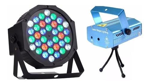 Kit Iluminação Festa Djs Mini Laser + Canhão Strobo 36 Leds