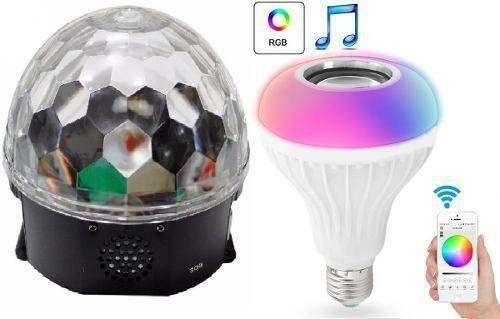 Kit Iluminação Projetor Holográfico Lâmpada Mp3 Bola Maluca