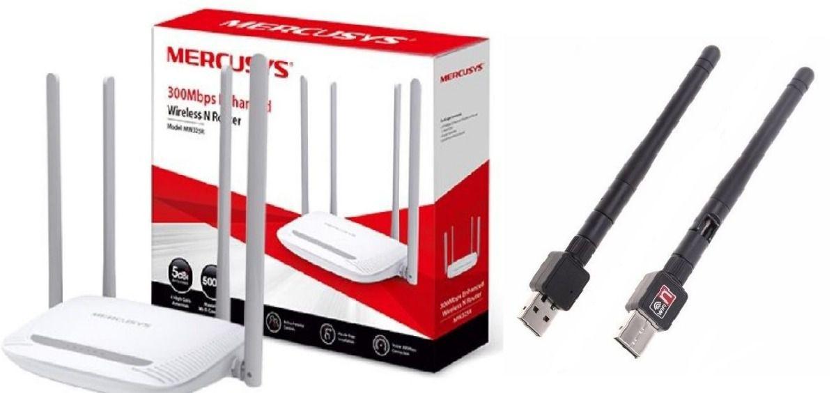 Kit Roteador Mais Antena De 900mbps Notebook Computador 5dbi