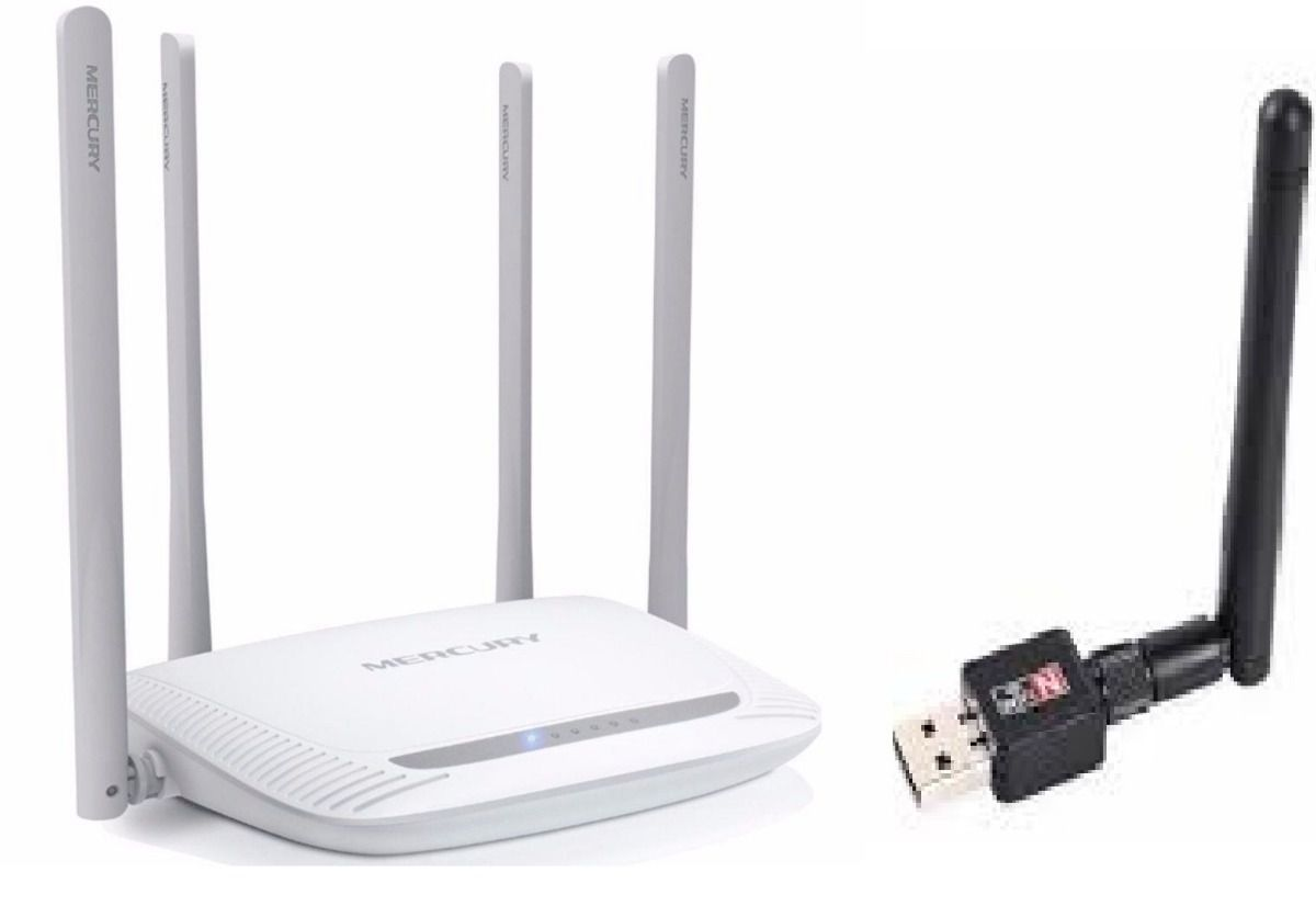 Kit Roteador Wireless Mercusys Mais 1 Antena 900mbps Notebok