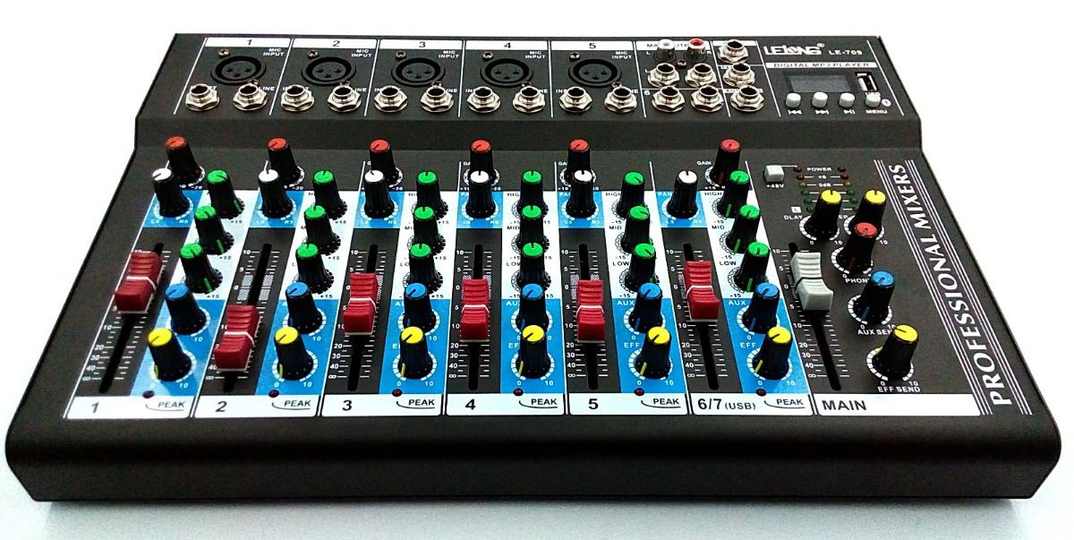 Mesa De Som Bluetoot Usb Mixer Mp3 Digital 6 Ch Profissional