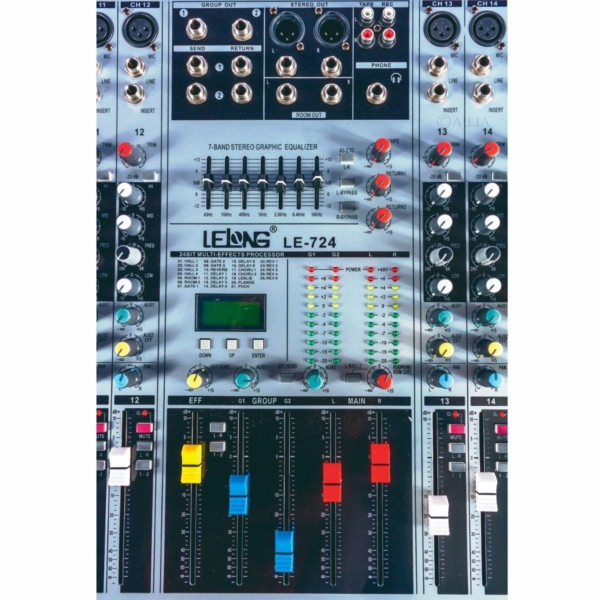Mesa De Som Profissional Com 24 Canais Auxiliar Mixer Bivolt