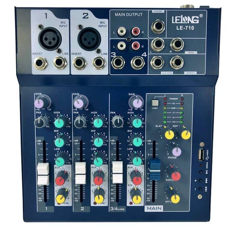 Mesa Mixer Controle De Som Usb Bluetooth 4 Ch Canais Le-710