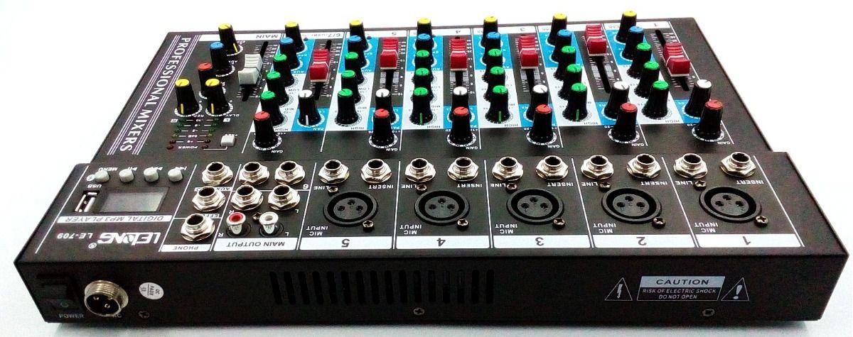 Mesa Som Bluetooth Usb Mp3 6 Canais Igreja Microfone Teclado