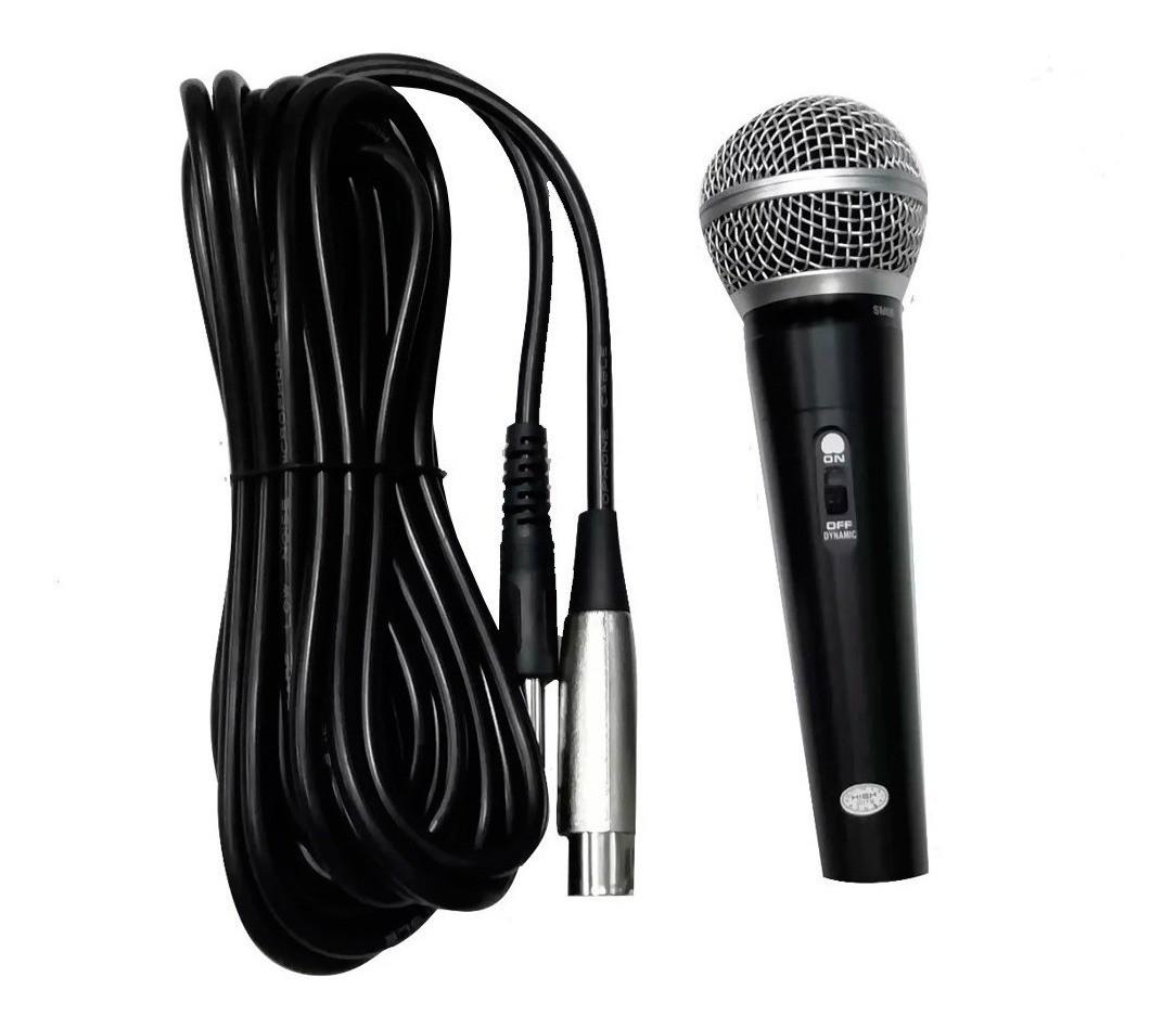 Microfone Com Fio 3m Pequenos Eventos Escolas Festinha Culto