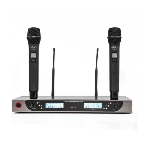 Microfone Duplo Sem Fio Wireless Uhf Profissional Kp-u914