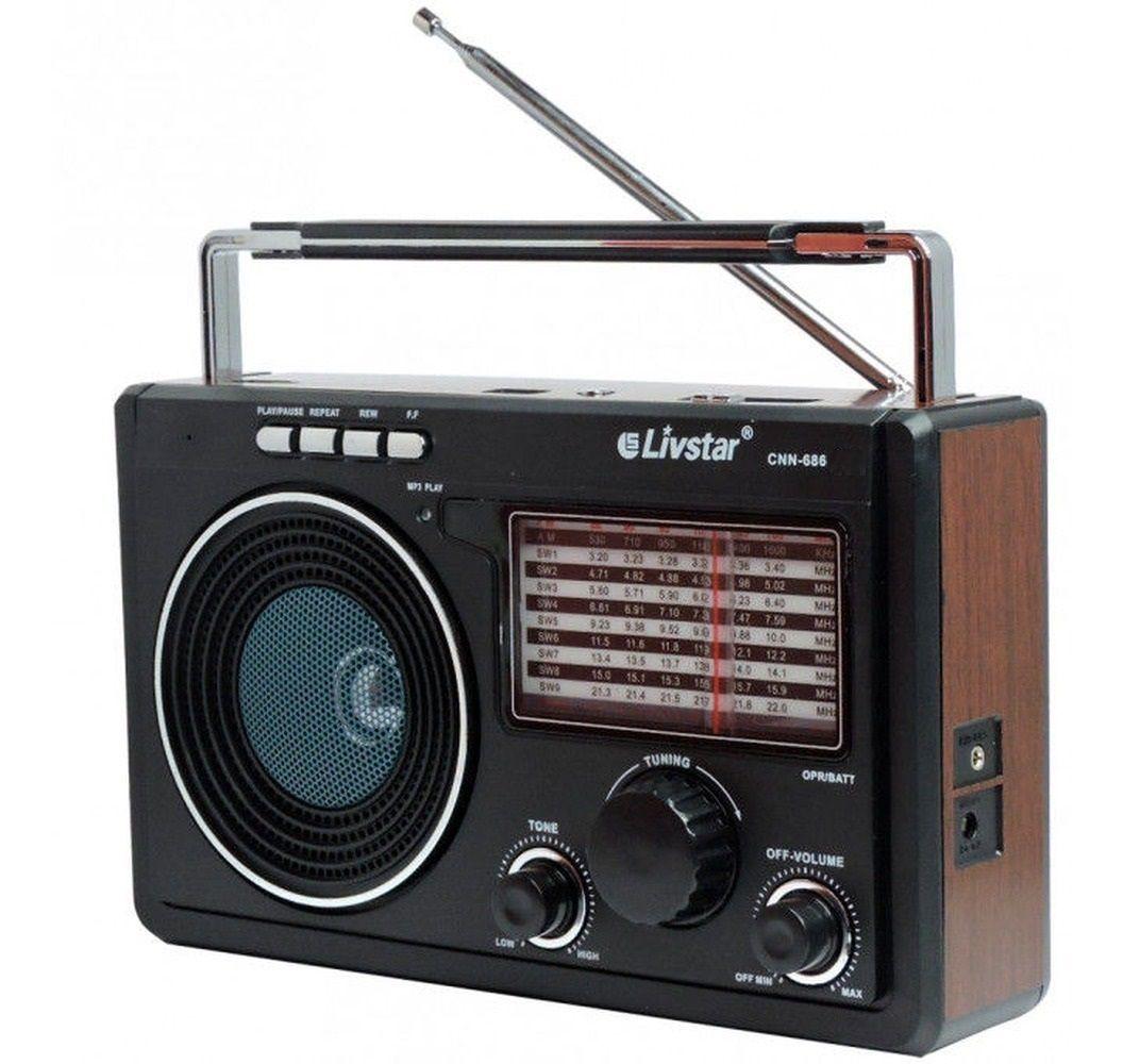 Radio Am Fm Sw Portátil Mp3 Pendrive Pilha, Bateria Energia Bivolt automático