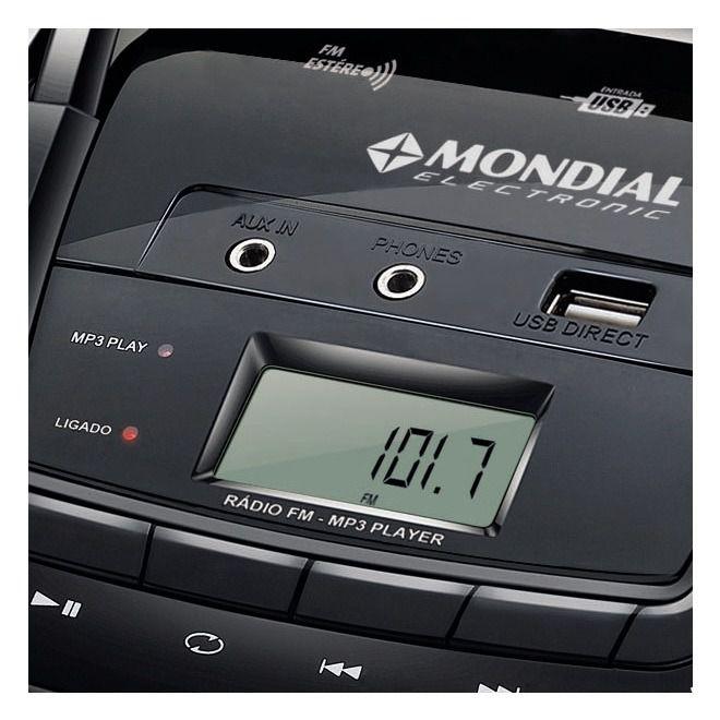 Rádio Mondial 3.4 W Rms Fm Usb com saída para Fone de Ouvido Pilhas e energia 110v 220v