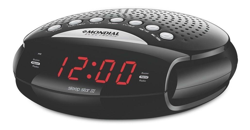 Rádio Relógio Despertador Am Fm Mondial Dual Alarme bip