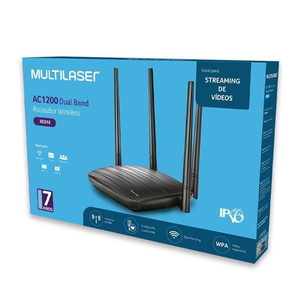 Roteador Multilaser Wifi 4 Antenas Ac1200 Mbps Dual Bivolt