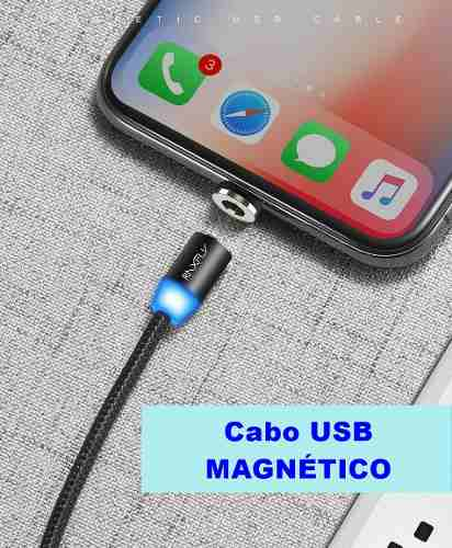 Cabo Usb Magnético Type C Para Samsung Galaxy S8 S9 Xiaomi