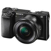 Câmera Digital Sony ILCE-A6000 24.3MP Tela 3 Polegadas Lente E PZ 16-50MM OSS