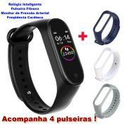 Smartwatch M4 Relógio Inteligente Pulseira Fitness Monitor de Pressão Arterial Freqüência Cardíaca