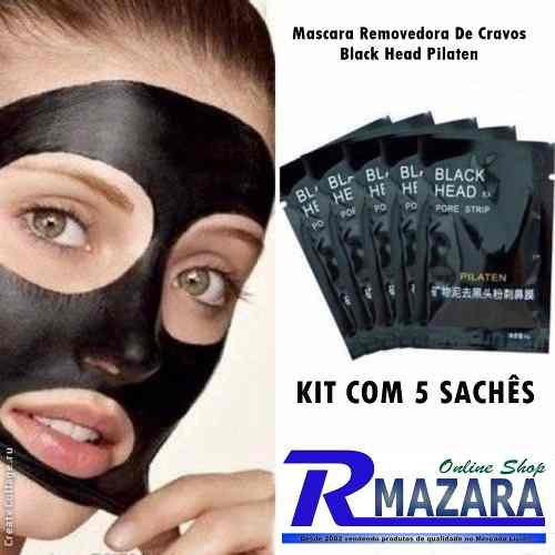 Mascara Removedora de Cravos Black Head Pilaten com 5 Sachês