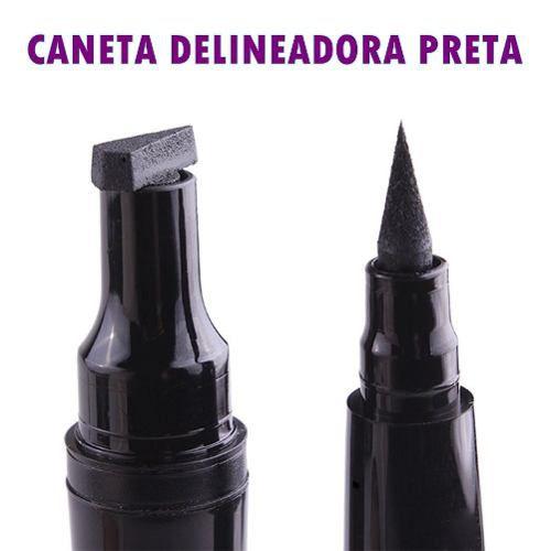Caneta Delineador Preto Olho Gatinho Esfumaçar Miss Rosé
