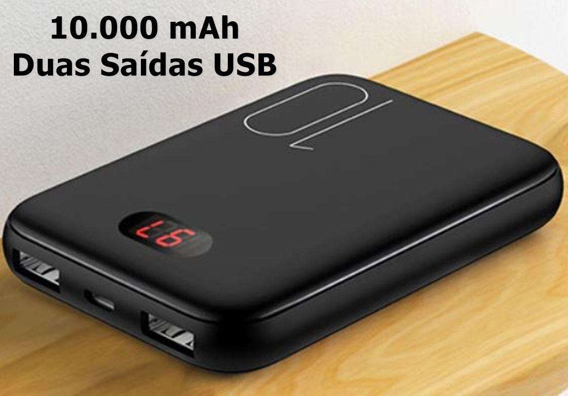 Bateria Externa Auxiliar Powerbank Mini 10.000 mAh Dual