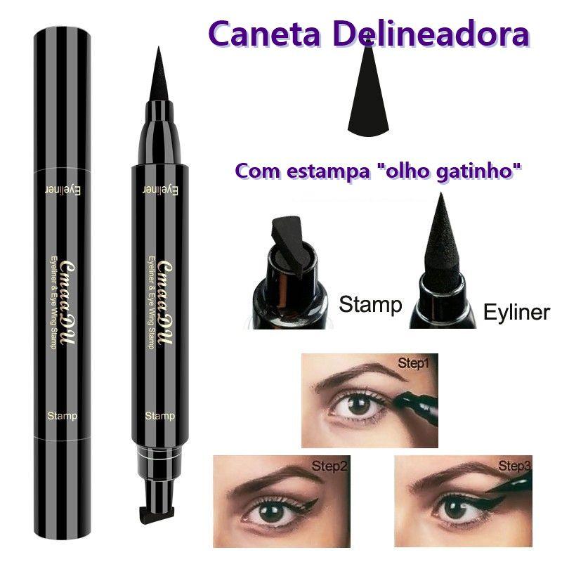 Caneta Delineador Preto Olho Gatinho Esfumaçar Eye Delinear