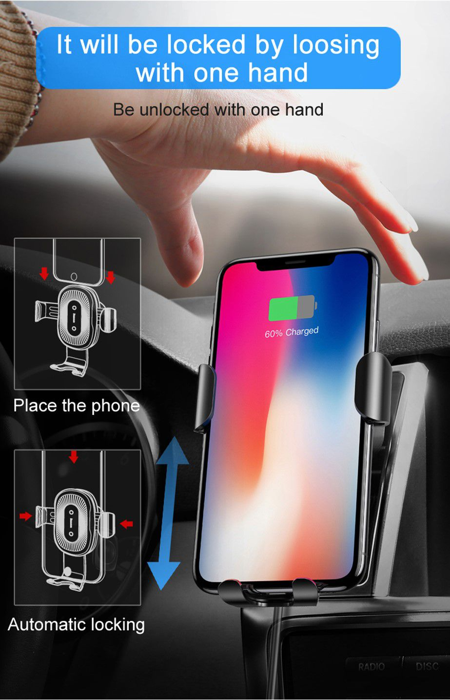 Carregador Automotivo Sem Fio Universal Wireless Charger Baseus 10W