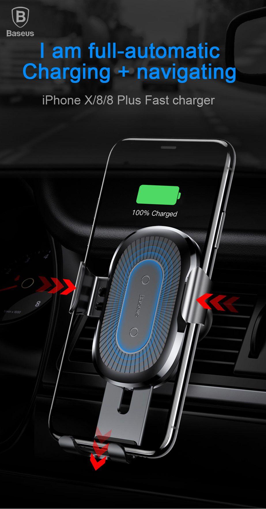 Carregador Automotivo Sem Fio Universal Wireless Charger Baseus 10W