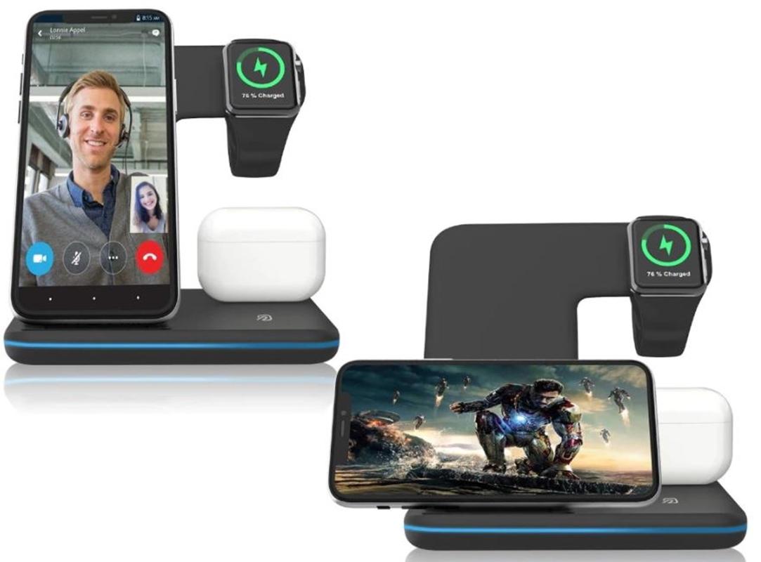 Carregador Wireless QI 10W 3 em 1 Smartphone Watch Fone Wireless