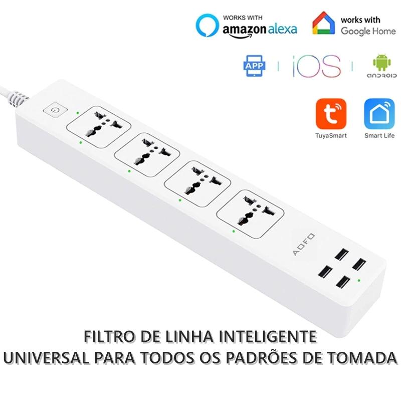 Filtro de Linha Inteligente Google Home Siri 4x Tomadas + 4x USB
