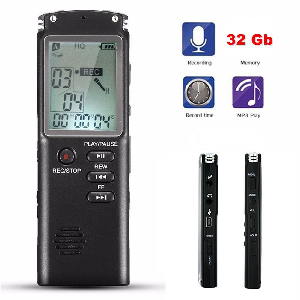 Gravador de Voz Áudio Digital 32GB Mp3 Player VAR/VOR Lapela