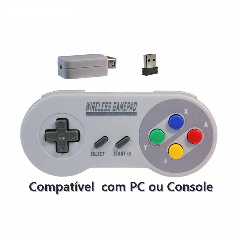 Joystick Controle Super Nintendo SNES Wireless Sem Fio USB PC ou Console