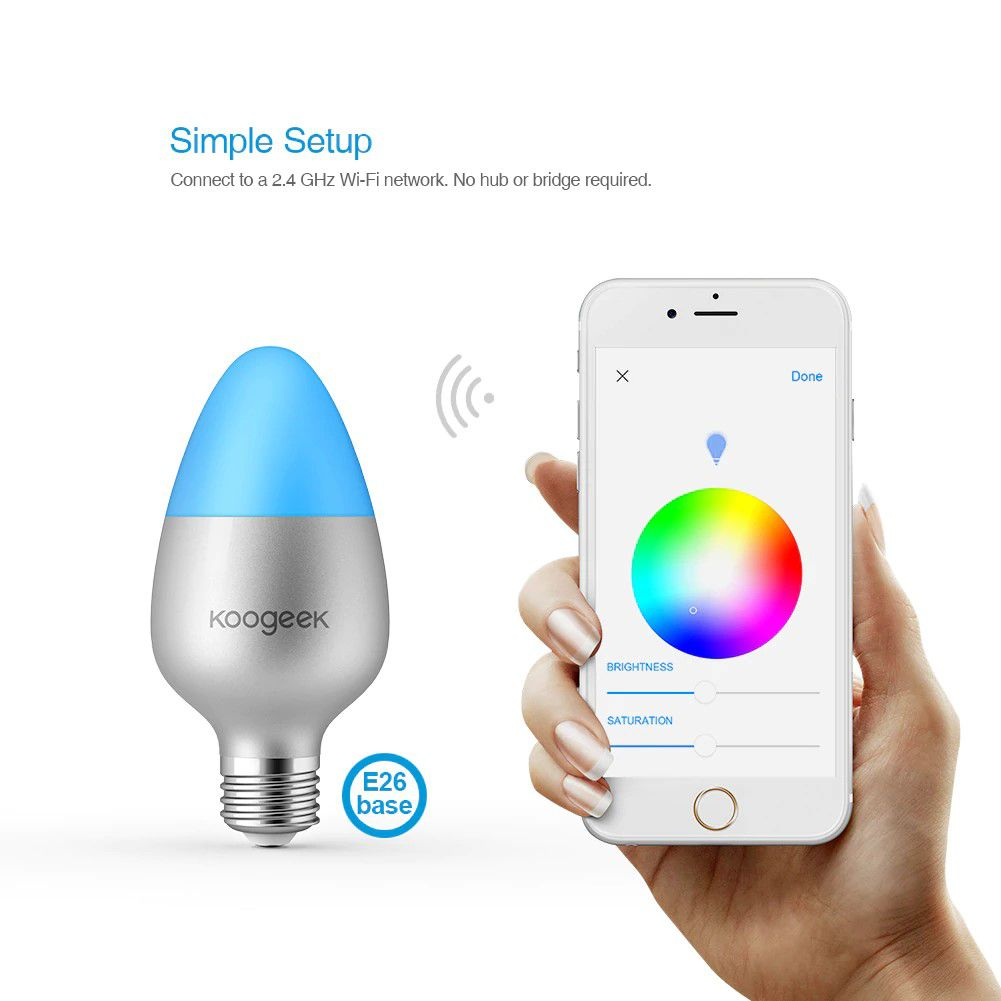 Lâmpada LED 110V Multi Cores E27 8W para Apple HomeKit, Siri, Alexa, Google Home