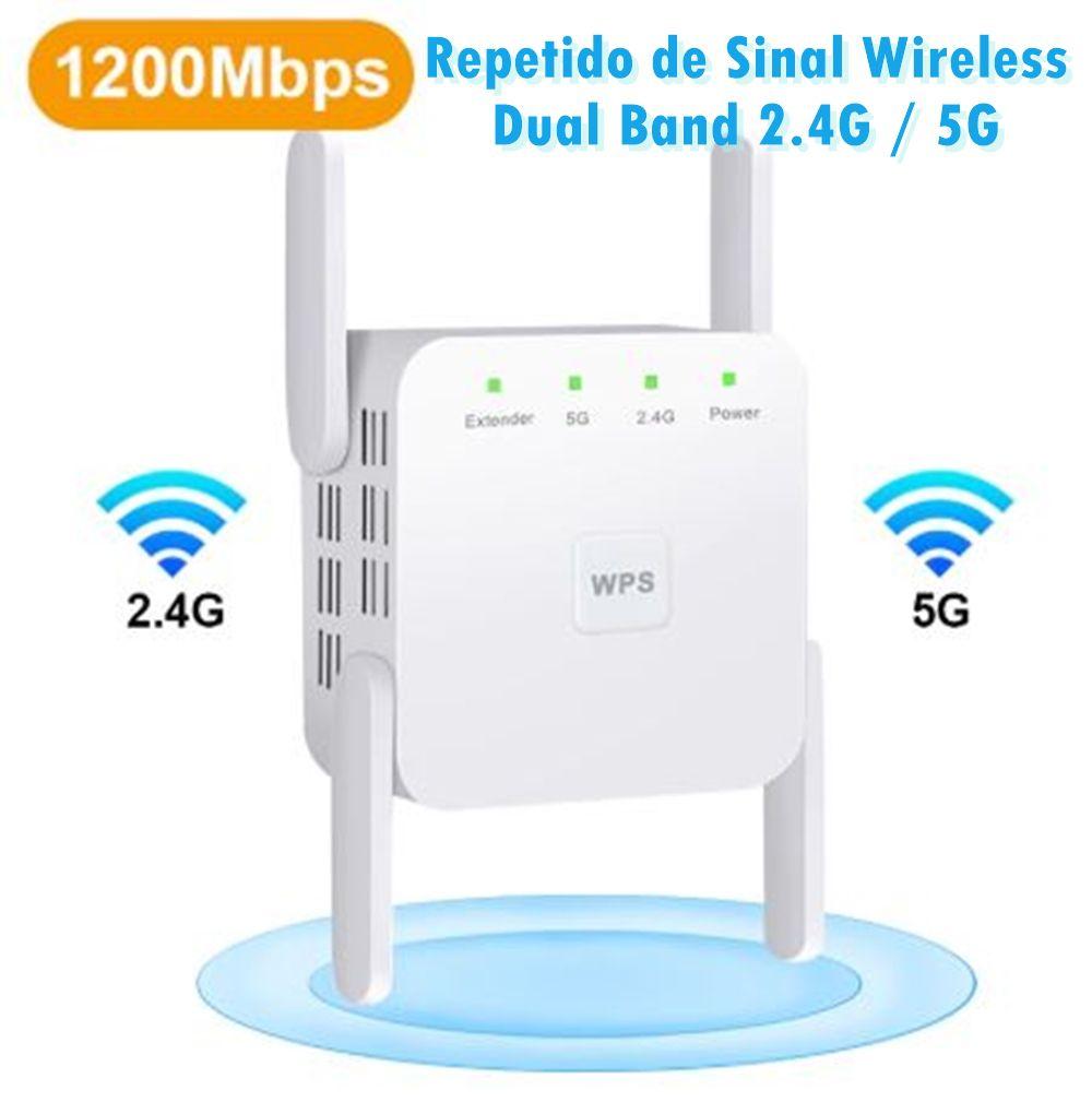 Repetidor sem fio Wi-Fi 2.4G / 5Ghz Amplificador Wi-Fi 300/1200 Sinal WiFi Extensor de Longo Alcance Ponto de Acesso 802.11ac