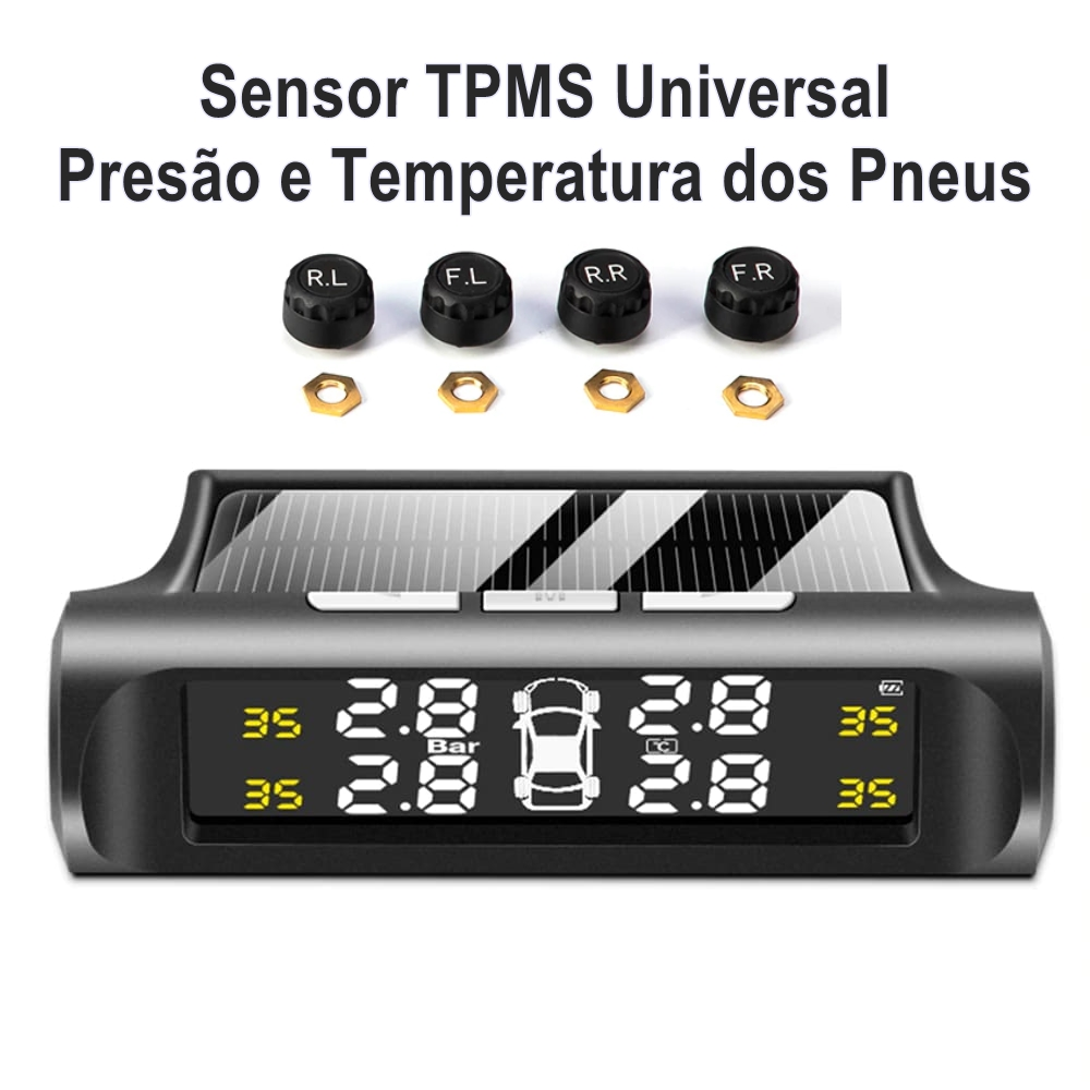 Sensor TPMS Pressão Pneu e Monitor de Temperatura