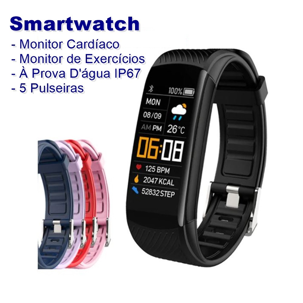 Smartwatch Fitness Track com Monitor Cardíaco, à prova d'água e com 5 cores de pulseiras