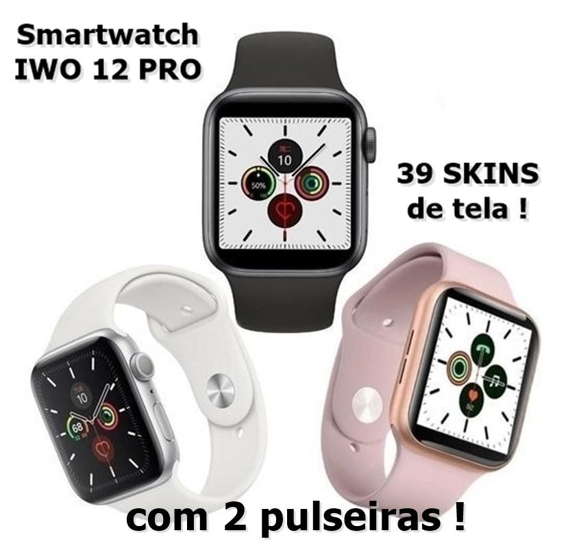 Smartwatch IWO 12 PRO Watch 5 44mm, Monitor Cardíaco, Prova d'água, Carregamento WIreless com 2 modelos de pulseira
