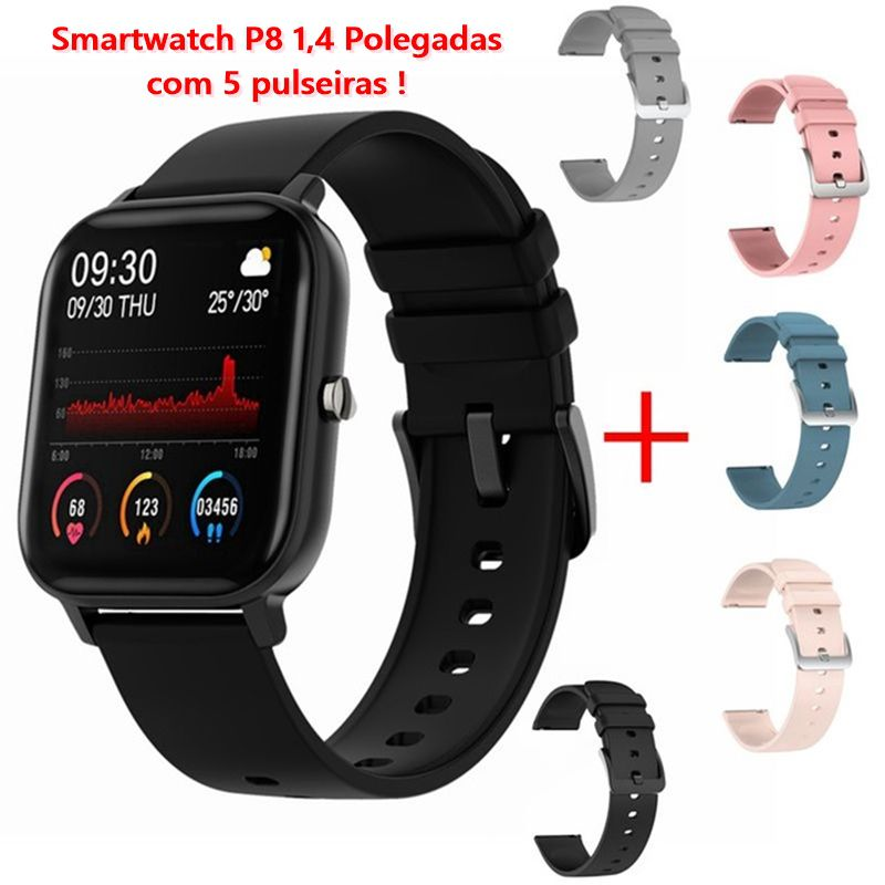 Smartwatch P8 com 5 pulseiras, 1.4 pol. Monitor Cardíaco e a prova d'água