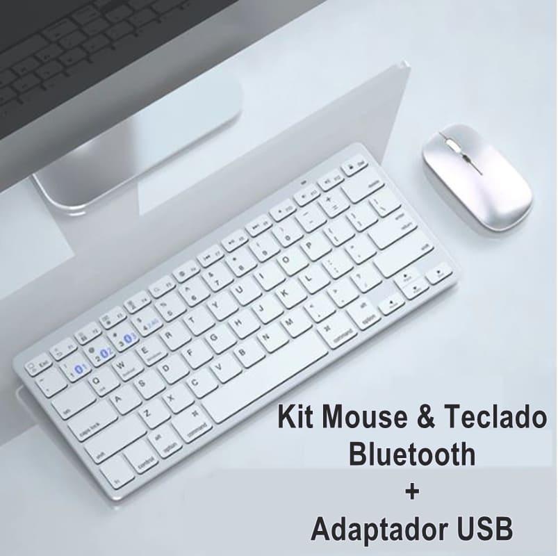 Teclado e Mouse Bluetooth e Wireless USB 2,4Ghz Tablet