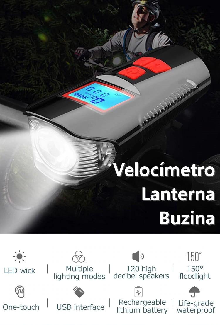 Velocímetro com Farol LED e Buzina. Ciclocomputador para bike com carregamento USB.