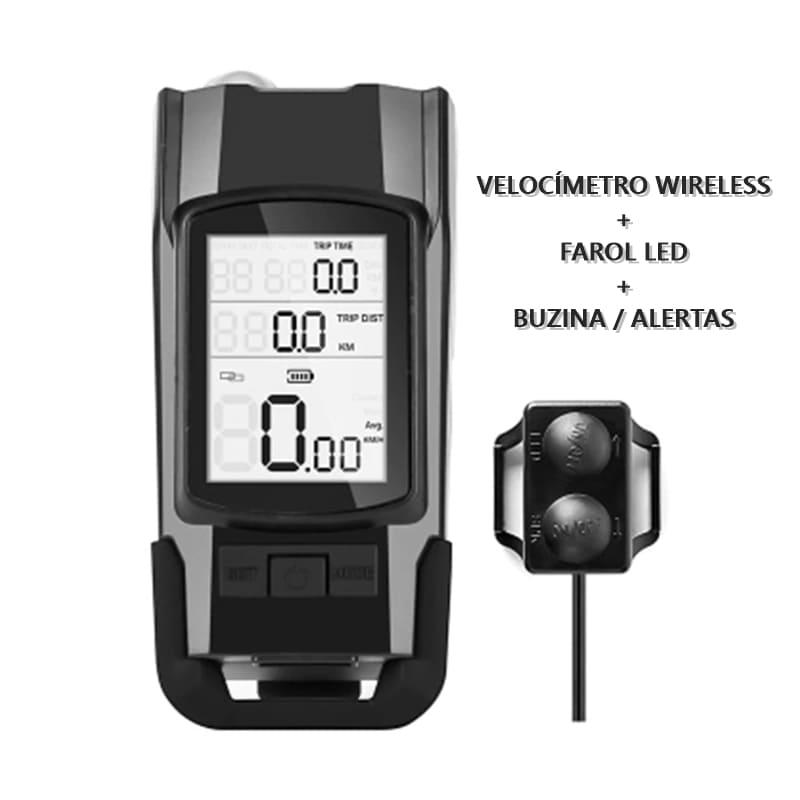 Velocímetro Wireless Sem Fio com Farol LED e Buzina Avisos Sonoros