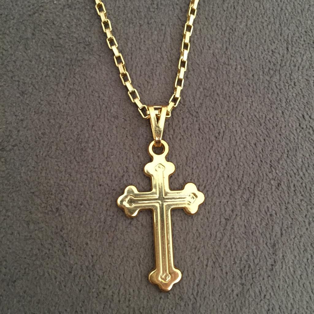 fac18e7fd3071 Cordão Veneziana 3mm + Pingente Cruz Vitoriana Banhado a Ouro 18k - Magnata  Joias ...