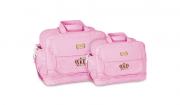 Kit Bolsa Maternidade Bolsa Bebe Menina Rosa Luxo M e G