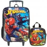 Kit Mochila Com Rodas + Lancheira Spider Man Rescue